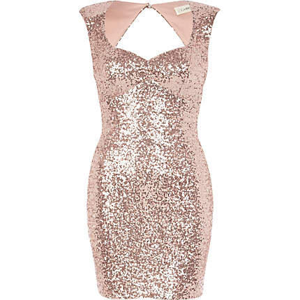 Light pink lashes of london sequin dress from river island for Glitter new years dresses