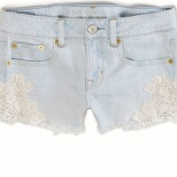AEO 's Crochet Denim Festival Shortie (Light Vintage Wash)