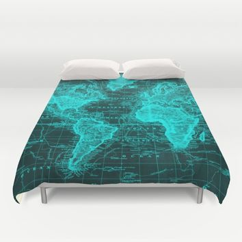 Vintage Map of The World (1833) Black & Light Duvet Cover by BravuraMedia | Society6