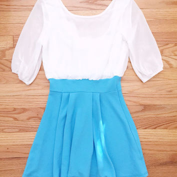 Blue Bow Back Party Dress