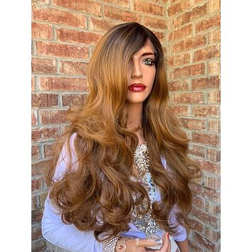 Ombre Brown Hair Wig, Big Full Loose Curls Layered 919 10