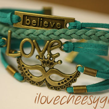 MASQUERADE~Mardi Gras New Orleans Cajun  Mask Believe Love Handmade Handcrafted Multilayer Wrap Turquoise Leather Bracelet ilovecheesygrits