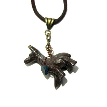 Soapstone Necklace 07 Llama Apatite Brown Leather