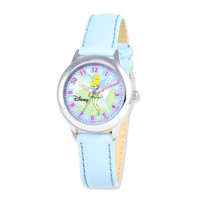 Disney® Tinker Bell Dreamland Blue Leather Band Time Teacher Watch