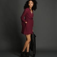 Sale-plum Ties-at-the-waist Wrap Tunic