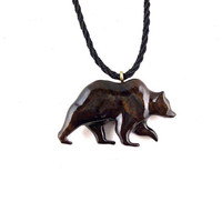 Bear Necklace, Bear Pendant, Mens Necklace, Grizzly Bear Necklace, Wood Bear Necklace, Bear Jewelry, Tribal Jewelry, Grizzly Bear Jewelry