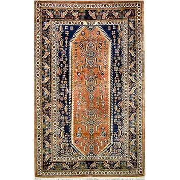Oriental Kashkoly Persian Tribal Rug, Orange/Blue