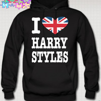 I LOVE harry styles HOODIE british flag niall zayn liam louis one directioN