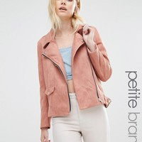 Missguided Petite Exclusive Faux Suede Bonded Biker Jacket