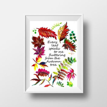 Happy fall sign, Printable Wall Art watercolor rustic welcome autumn quote decor, Emile Bronte poem literature book, every leaf speaks to me