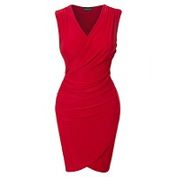 Fitted V Neck Wrap Sleeveless Bodycon Midi Dress with Side Shirring