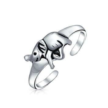 Lucky Elephant Midi Toe Ring Oxidized 925 Silver Sterling Adjustable