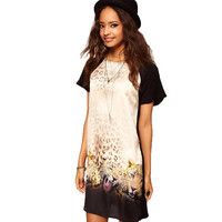 New 2015 summer plus size loose short-sleeve chiffon back cotton sexy 3D Leopard Heads print club dress