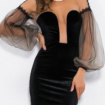 Black Sheer Mesh Panel Puff Sleeve Bodycon Mini Dress