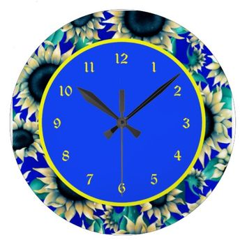 Pretty Sunflower Wishes Wall Clock