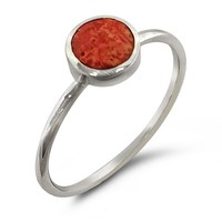 Red Coral Circle Silver Ring
