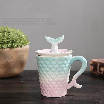 Creative Lovely Colorful Mermaid With Lid Ceramic Mug Home Office Milk Coffee Tea Morning Mugs Porcelain Anniversary Gift