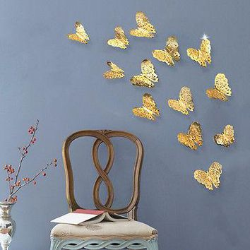 12Pcs/set Gold Silver 3D Hollow Butterfly Wall Decal Removable PVC Sticker Kids Art Nursery  Room House Home Window Fridge Decor