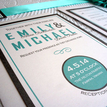 Modern Wedding Invitation, Fun, Tiffany Blue Wedding Invitation, Blue Wedding Invitation, Wedding Invites, Belly Band - SAMPLE SET