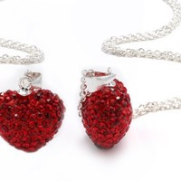""".925 Sterling Silver Red Heart Shape Crystals Pendant Necklace,18"""""""