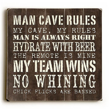 Man Cave Rules by Artist Debbie Dewitt Wood Sign