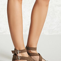Faux Suede Buckle-Strap Sandals