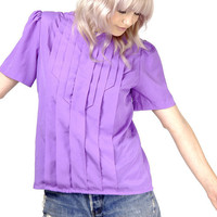 Vintage Lavender Pleated Blouse