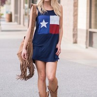 Inspired By Texas Printed Tank Dress (Navy)