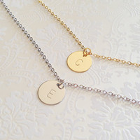 Delicate Initial Necklace, Gold Letter Necklace, Silver Disc Necklace, Dainty Monogram Charm, Bridesmaid Gift