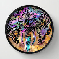 elephants on parade Wall Clock by Natasha Marie
