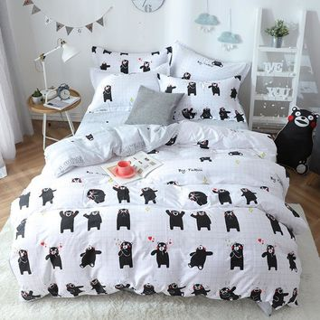 Boys Girls Japan Anime Kumamon Bedding Set/Kids Sheet,Pillowcase & Duvet Cover Sets/Children Twin Queen 5 Size Beddings