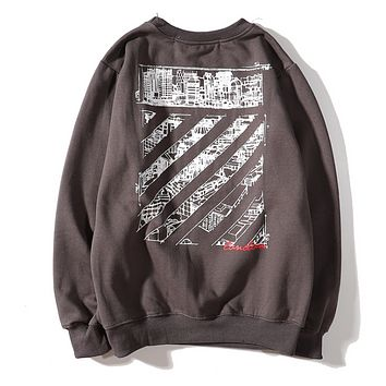 Off White Autumn And Winter New Fashion Letter Pattern Print Long Sleeve Top Sweater Coffee
