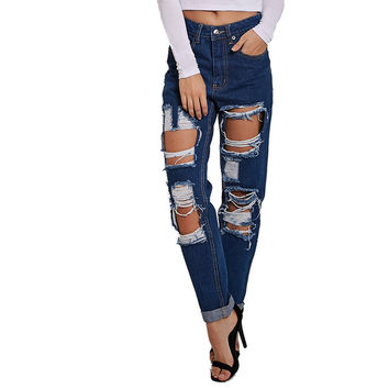 Blue high waist ripped jeans for women hipster frayed cropped fear of god slim fit hollow skinny camisa robin pencil Denim pant