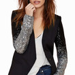 Black Blazer with Sequined Long Sleeve in Black and Silver