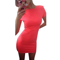 Sexy Women Summer Short Sleeve Mini Dress Casual Solid Bodycon Slim Skinny Dresses Vestidos