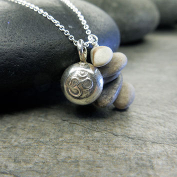Zen Necklace, Stacking Stones, Mindfulness Jewelry, Om Charm, Tiny Pebbles, Beach Comber, Minimalist Style, Simple Design, Sterling Silver