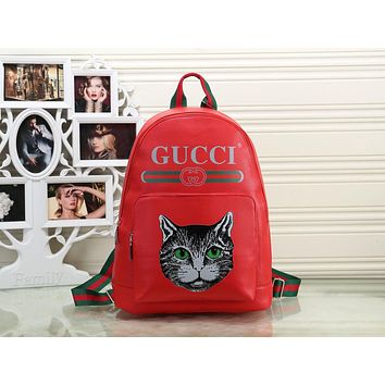 GUCCI 2018 Men's and Women's Fashion Simple Backpack Crossbody Bag F-OM-NBPF red