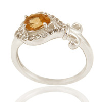 Natural Citrine Gemstone 925 Sterling Silver Womens Ring With White Topaz