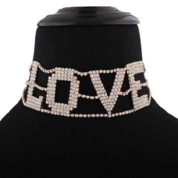 "12"" script love crystal choker necklace 1.45"" wide"