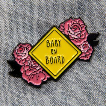 """""""Baby on Board"""" Pink Tattoo Roses Enamel Pin"""