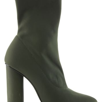 Paw-1 Pointy Toe Lycra Elastic Pull On Ankle Bootie Block Round Heel Boot Olive