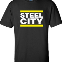 STEEL CITY Pittsburgh Football Fan Tailgate Shirt T-Shirt Funny Vintage swag mens womens ladies TShirt T-Shirt T Shirt Tee  - DT-614