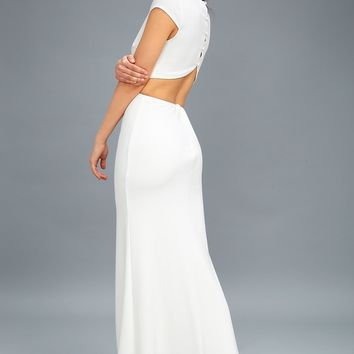 Be Still My Heart White Backless Maxi Dress