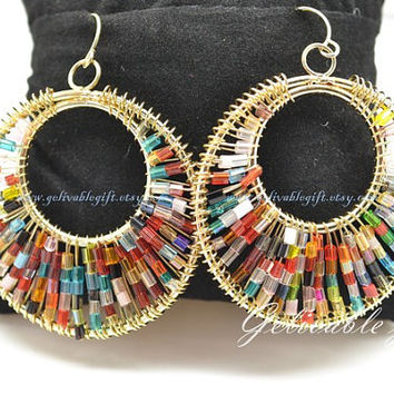 Colorful Bohemian roud bead earrings,Beaded hoop earrings Beadwork Hoop Earrings Cotton Candy Pastel Seed Bead Earrings EBB02