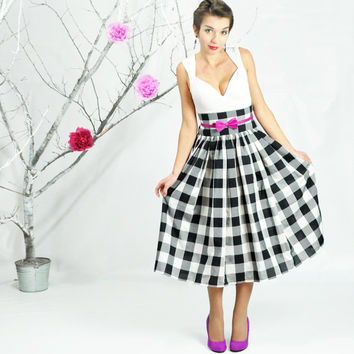 Maxi Skirt, Full Skirt, Tea Lenght Skirt, Gingham Skirt, 50's Skirt, Retro Style Midi, High Waisted Skirt, Plus Size Skirt, Picnic Skirt