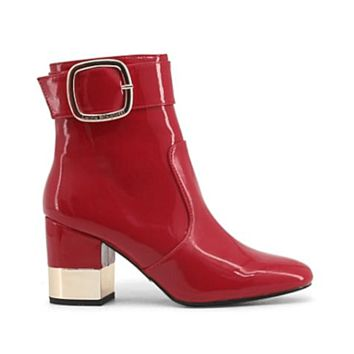 Laura Biagiotti Red Patent Leather Ankle Boots With Buckle Detail - 5026
