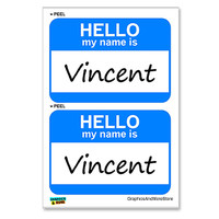 Vincent Hello My Name Is - Sheet of 2 Stickers