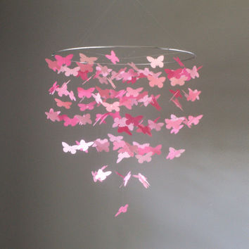Large Pink Butterfly Swarm Floating Mobile