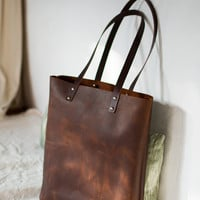 "Brown Distressed Leather bag. ""Illa Roja"" leather Tote. Premium sturdy waxed leather. Handmade"