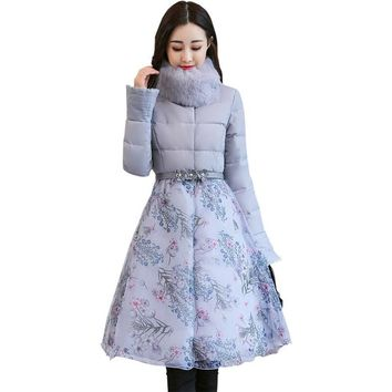 Sweet Elegant Print Organza Cloak Thick Padded Parka Winter Jacket Women Faux Fur Warm Cotton Wadded Winter Coat Manteau TT3587